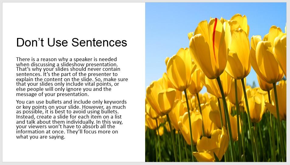 avoid using sentences on powerpoint presentation